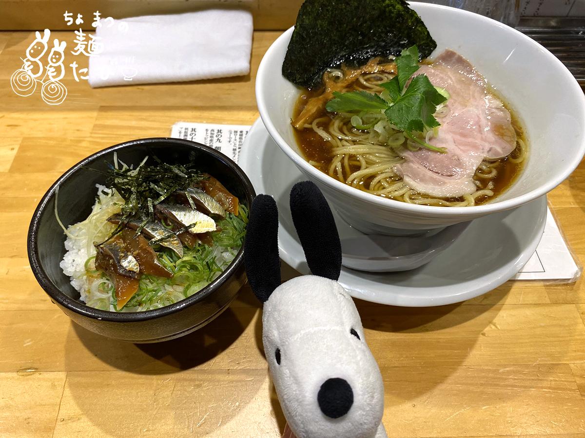 名物 中華そば 鯖(さば)漬けご飯セット 900円(中細丸麺)